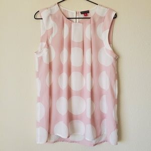 Vince Camuto Pale Pink Polka Dot Cap Sleeve Blouse